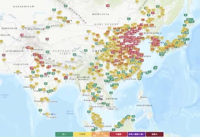 大気汚染_アジア_中国_韓国_日本_状況_画像
